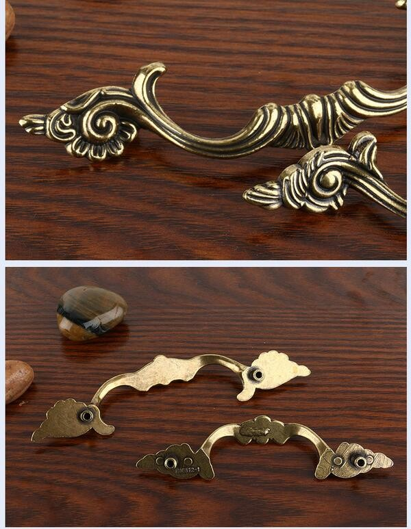 Antique brass euro style drawer pull handle, classical furniture cabinet door handle
