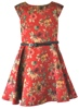 Girls Red Satin Rose Print Day, Summer Party Dresses Designers Club