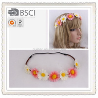 Fashion Boho silk headband,braided elastic headband with flower