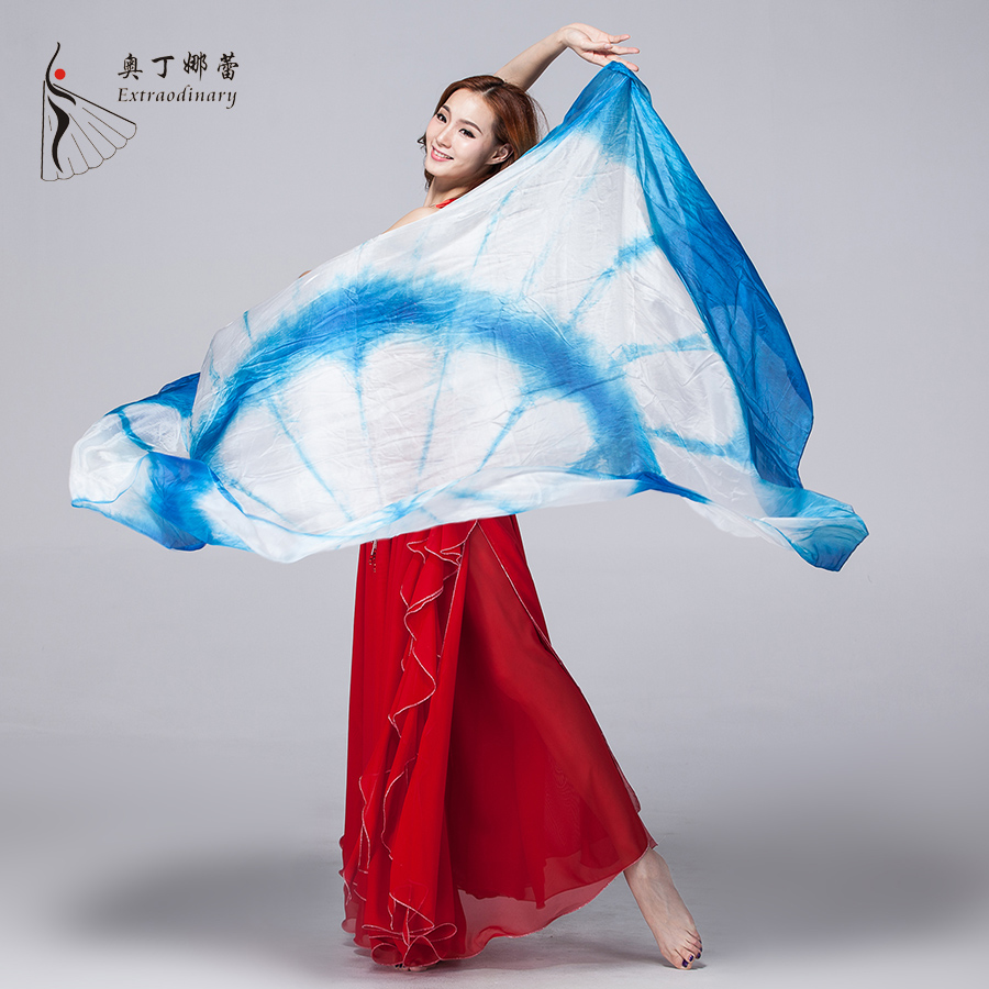 belly dance accessories 100% silk Chinese tie dye veil
