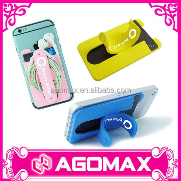 Business gift for Samsung mobile 3M sticker wallet with stand