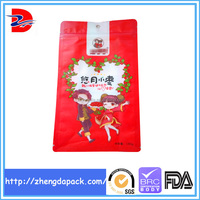Flat bottom side gusset zipper plastic bag/square bottom pouch for food packaging