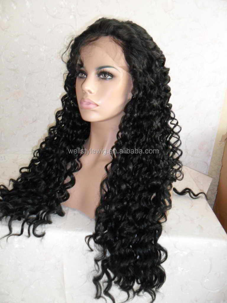 best quality unprocessed natural color doubel drawn virign human hair wig with baby hair for black women
