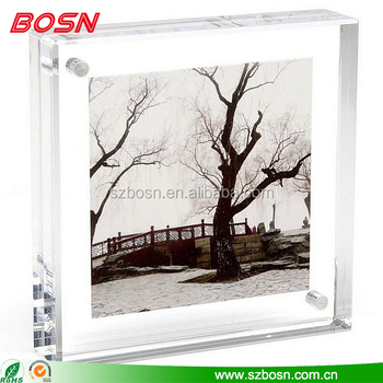 Square acrylic photo frame / Acrylic classic photo frame / tabletop free stand acrylic photo frame