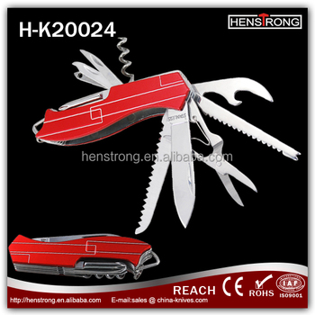 Portable Swiss Knife Aluminum Tools With Red Handle Pocket Knife