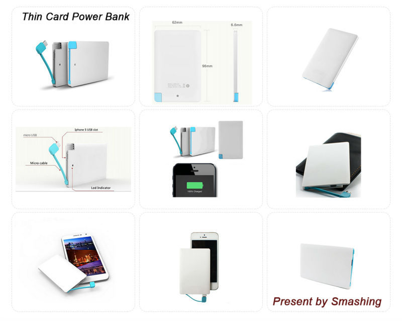 Hot Promotion Gift Ultra Thin card power bank 2600mah, customised credit card powerbank