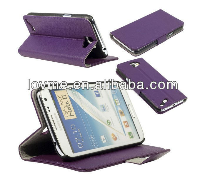 case for Fashion Leather Flip Case Stand for Samsung Galaxy Note 2 II N7100 Purple PC334P