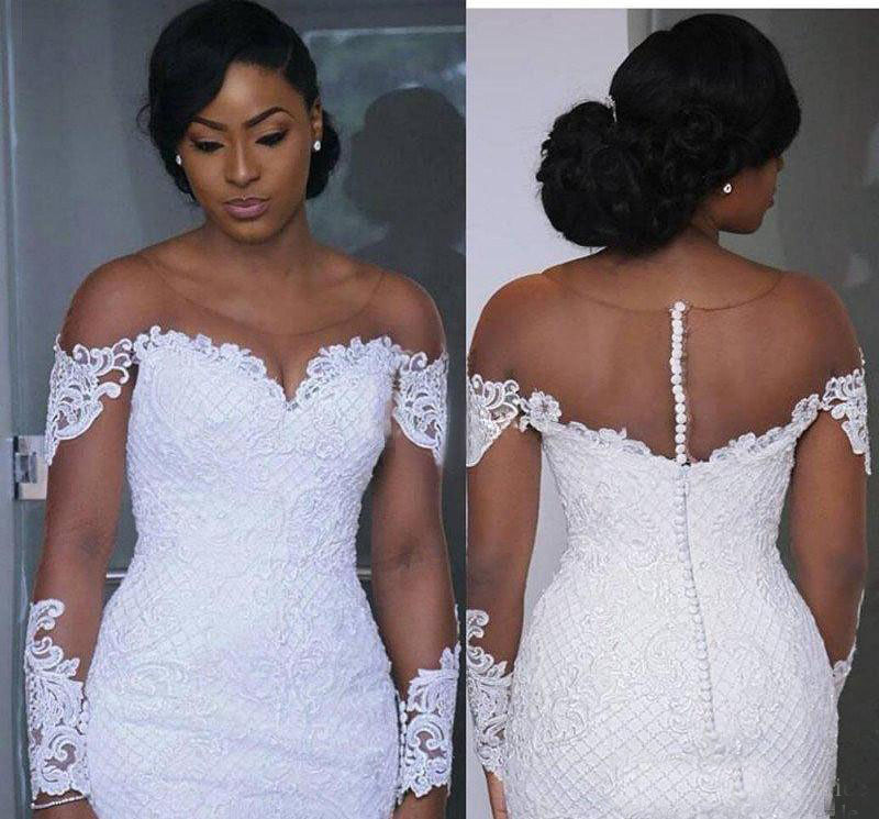 South African Mermaid StrongWedding Strong Dresses Illusion Long