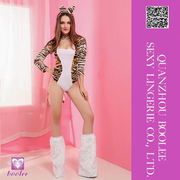 Hot selling halloween sexy long sleeves cosplay costumes one piece leopard catsuit