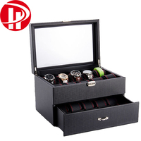 Handmade custom wooden PU leather watch Storage packaging box for man