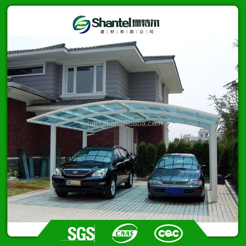 Aluminum Metal Frame Double Carport Attached Polycarbonate Solid Sheet Carport