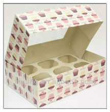 High quality paper board clear window cupcake boxes