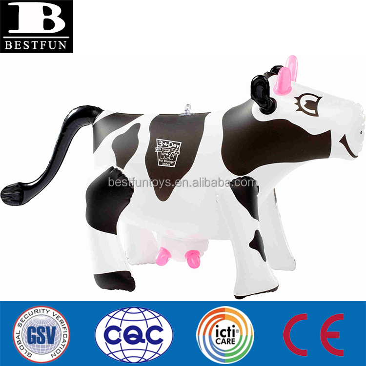 funny inflatable cow plastic inflatable small cow folding portable inflatable farm animal toys for kids