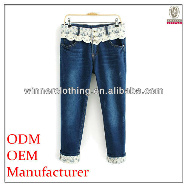 newest design lace waist jeans trousers 2013 with foldable hem
