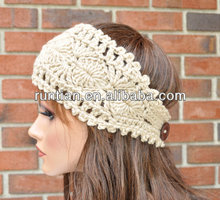 Fashion Handmade Crochet Women's HeadWrap Headband With Buttons