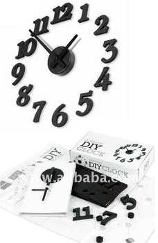 HIGH QUALITY PROMOTIONAL GIFT FASHIONABLE NUMBER STYLE DIY WALL CLOCK