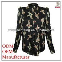 High quality fantasy printed christmas down blouse fashion