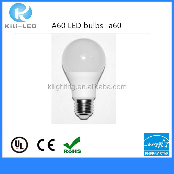 indoor decorative lighting plastic bulbs e27/A60 led lamps 2years life