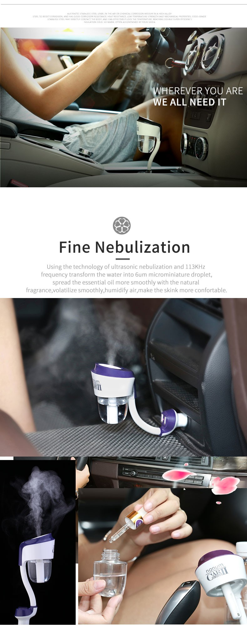 Nanum Upgrade 12V Car Cool Mist Humidifier Car Diffuser
