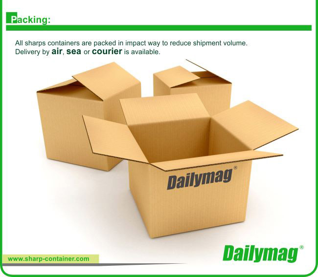 Dailymag Single Use Yellow Promotional 5L Kraft Paper Cardboard Medical Waste Safety Box For Syringes