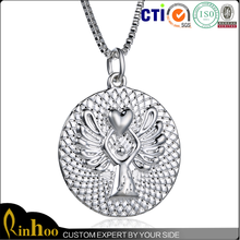 1 inch Diameter silver reversible guardian angel/ latest design fashion necklace
