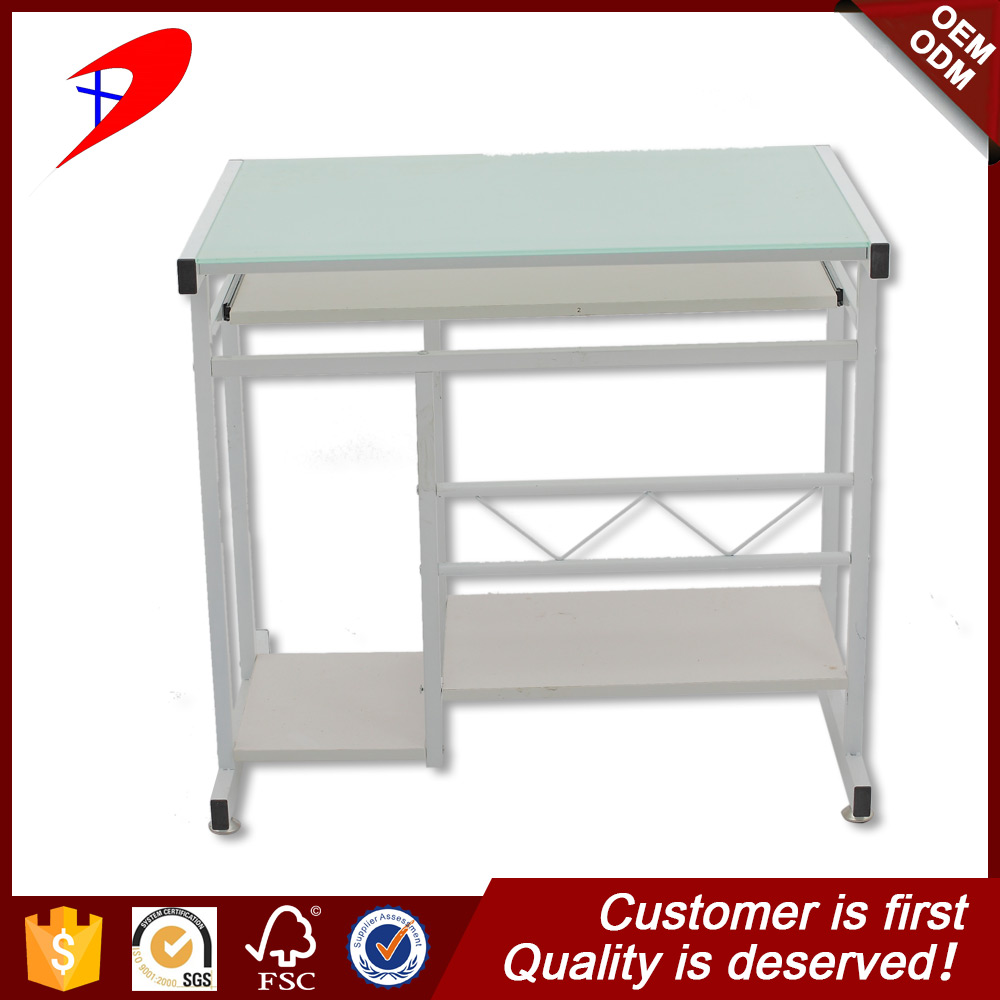 12mm tempered glass/iron/melamine Material and PC Desk Style computer table