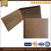 Fashion custom material tan leather wallet men
