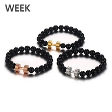 Week Jewelry Wholesale Mens 3colors Accessories Stainless Steel Gym Black Agate Shamballa Beads Bracelet