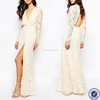 lady fashion elegant owns dresses blush long sleeve wrap maxi long dress in lace
