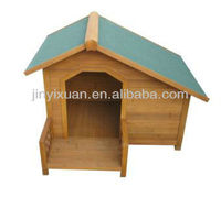 Outdoor Wooden Dog House with Balcony / Garden Wood Puppy Kennel / Pet Cage