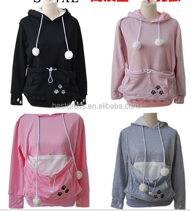 Cartoon Hooded Hoodies Lover Cats Kangaroo Dog Hoodie Cool Long Sleeve Sweatshirt Front Pocket Casual Animal Ear Hoodie