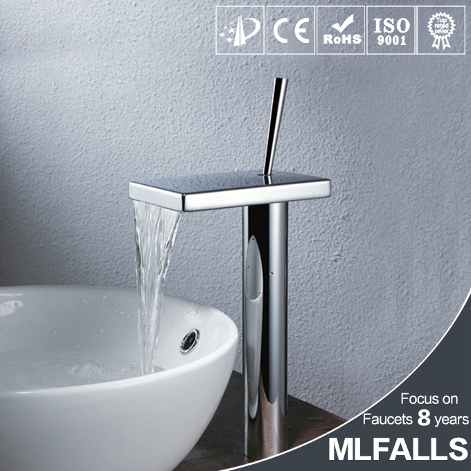 Unique deck mount brass polished single hole wash basin mixer waterfall faucet