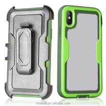 Rugged Hybrid Dual Layer Defender Case with Belt Clip 3 In 1 Robot For iphone X