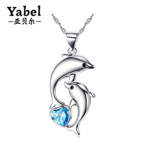 925 Sterling Silver Blue Heart CZ Birthstone Necklace Cute Dancing Dolphin Pendant Necklace For Women