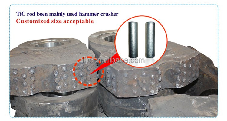 TiC inserts for max increasing wear life of the manganese crusher parts