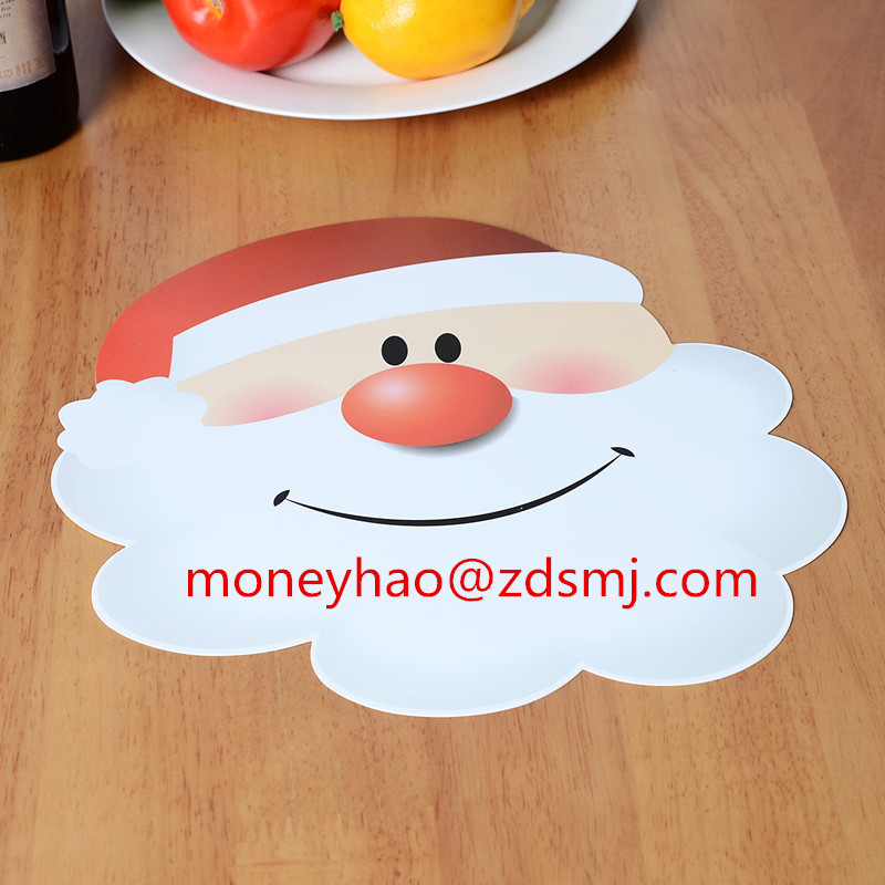2018 SANTA CLAUS with red DESIGNS with UV printed transparent material with waterproof function disposable placemats