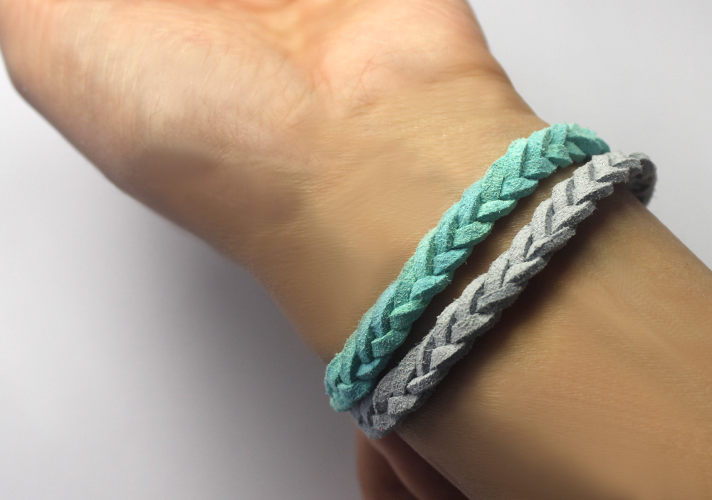 Faux suede fabric braided two strands of synthetic pisces bracelet for lovers