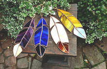 Decorative Glass Hanging Art Stained Glass Feather