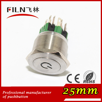 flat stainless steel switch 25mm 1NO 1NC reset able green vintage push button light switches with power symbol