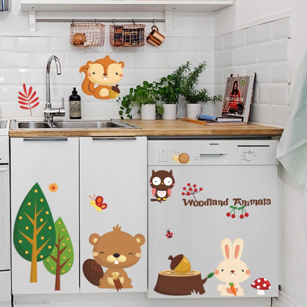 Woodland Animals Removable Wall Sticker Owl Birds Baby's Nursery Decals Decor