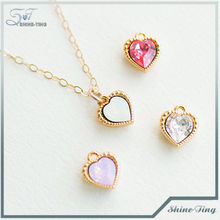 Bezel Set Heart Crystal Necklace Pick Your Color Gold with Filled Chain Minimal Jewelry130901-41