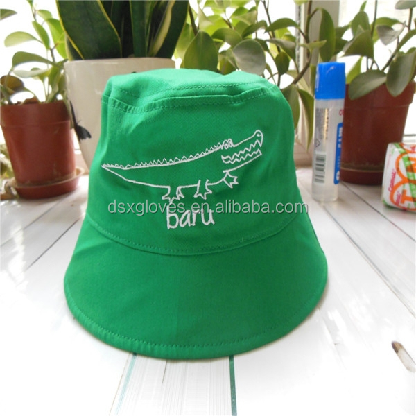 Wholesale children custom green bucket hats Cotton Bucket Cap fishing hats for sale