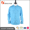 Solid Plain Aqua Color Striped New Design Double Pockets and Epaulettes Casual Shirt