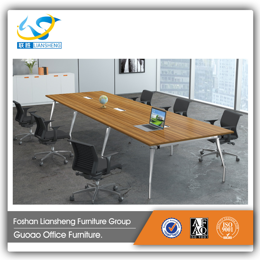 Modern style wood aluminum leg MFC pvc banding meeting room conference table GAM0044