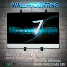 22 inch i7 2620m Yes Widescreen Wifi LCD Wall Hanging All in One Computer High resolution win7 8 10 linux OS