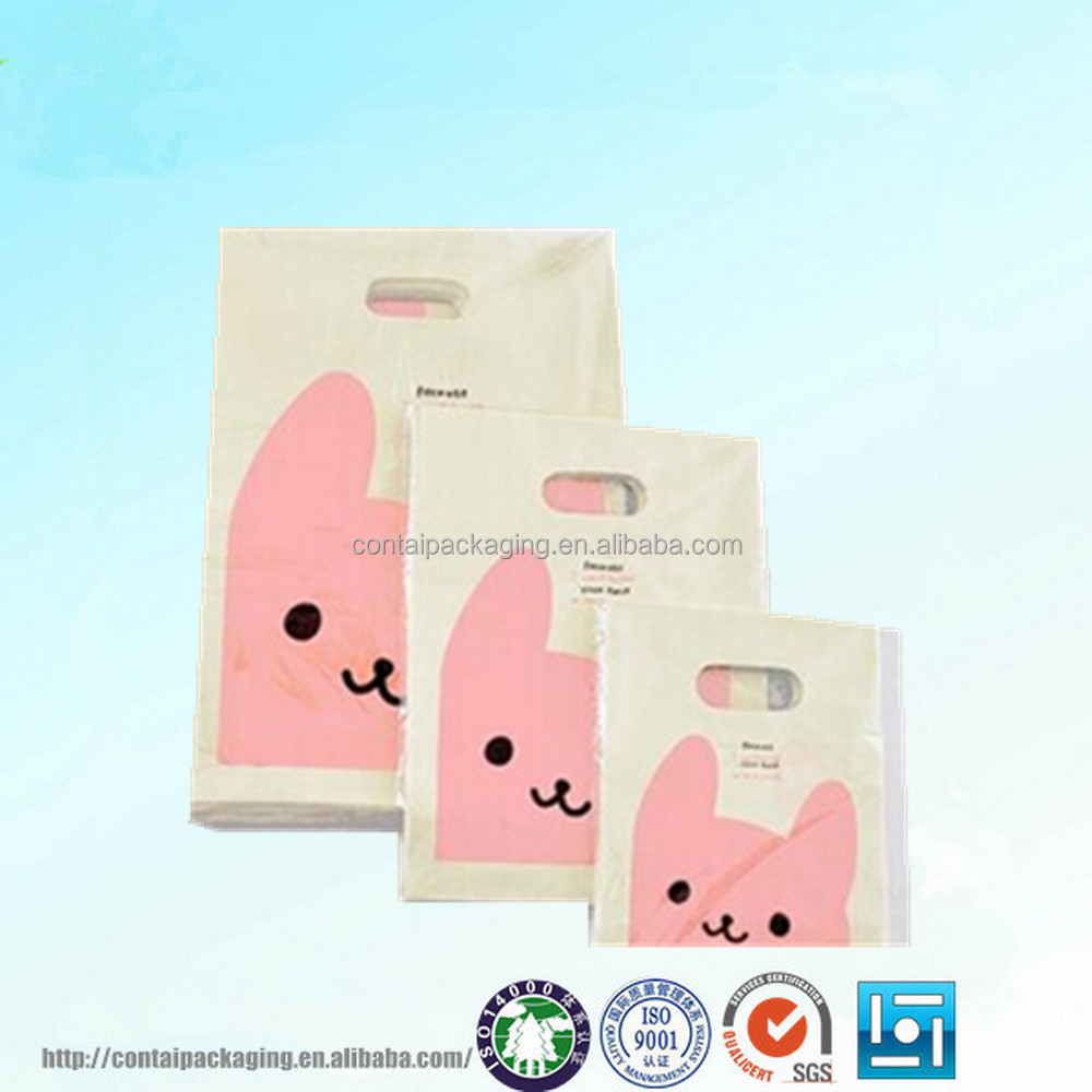 Customer logo white card plastic bag with handles cartoon gift bag