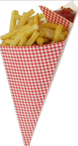wholesale paper cone for potato chips with sauce container