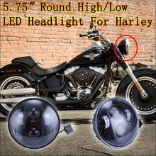 Round H4 12v 5.75 inch led headlamps for harley motorcycle black/chrome headlight