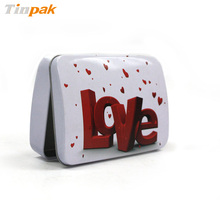 emboss valentine tin, sugar free candy metal packaging with hinge