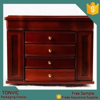 Luxury High Quality 4 Drawers Antique Wood Jewelry Box For Wedding Manufacturer